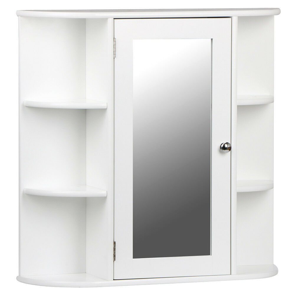 White Wooden Mirrored Bathroom Cabinet Wall Mounted