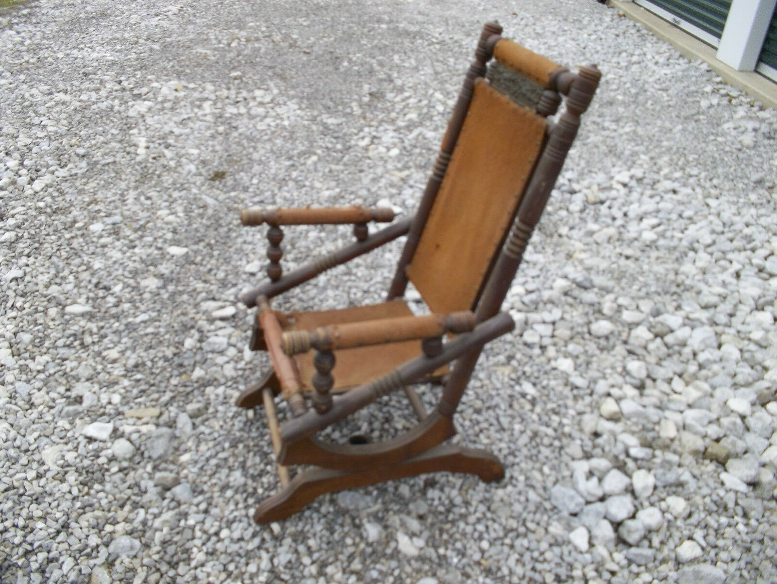 antique platform rocking chair with springs slip covers target vintage pedestal spindle