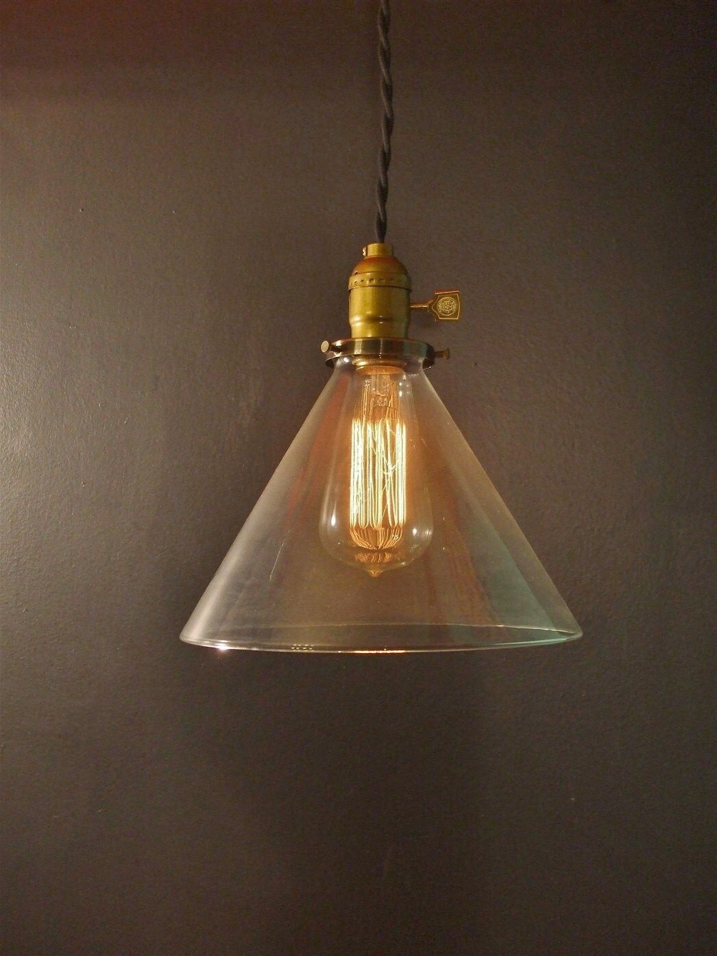 Vintage Industrial Hanging Light with Glass Cone Shade