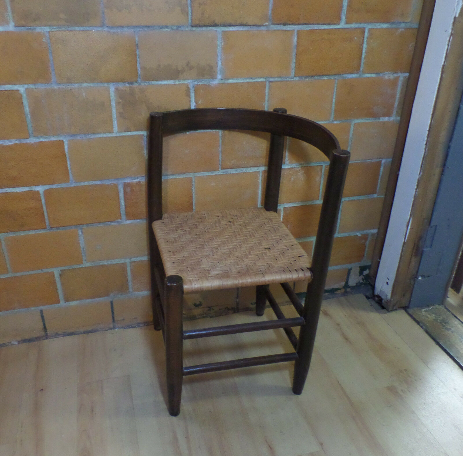 wooden corner chair dining room slip covers antique vintage curved back wood victorian rattan wicker