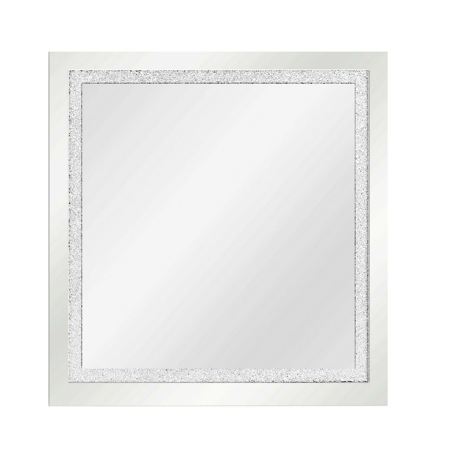 Silver Square Crystal Effect Wall Mirror Silver Bathroom