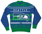 NFL Seattle Seahawks Logo Adult Blue Football Ugly Christmas Sweater