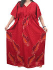 BOHEMIAN LOUNGE WEAR CAFTANS WOMEN COTTON RED PRINT KAFTAN BOHO MAXI DRESS XL
