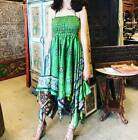Boho Hippie Flora Halter Dress Handkerchief Hem Recycled Sari Beach Sundress S/M