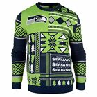 Seattle Seahawks Forever Collectibles KLEW Patches Ugly Sweater Sizes S-XXL