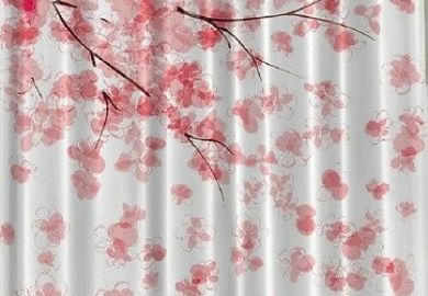 Home Classics Cherry Blossom Fabric Shower Curtain Pink