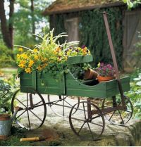 Wooden Country Style Amish Green Garden Wagon Plant ...