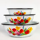 Enameled Mixing Bowl with Floral Print. Enamel Deep Plate