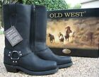 NEW Mens OLD WEST Black Distressed Leather Harness/Motorcycle Boots Style MB2058