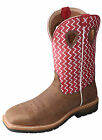 Twisted X Mens Red Leather Distressed 12in Lite Weight Cowboy Work Boots