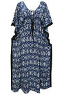 BOHEMIAN CAFTAN BLUE PRINTED WOMEN BOHO LONG KAFTANS COVER UP MAXI DRESS  M
