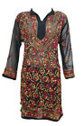 WOMEN'S LONG DRESS BOHEMIAN BLACK GEORGETTE EMBROIDERED TUNIC STYLISH KURTI XL