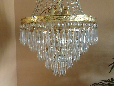 Antique Crystal Chandelier Empire Vintage French Brass