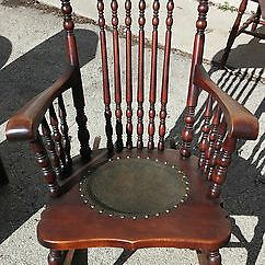 Folding Rocking Chair Wood Cheap Massage Chairs Antique Wooden Circa 1900 Leather Seat Inlay Embroidered Headrest