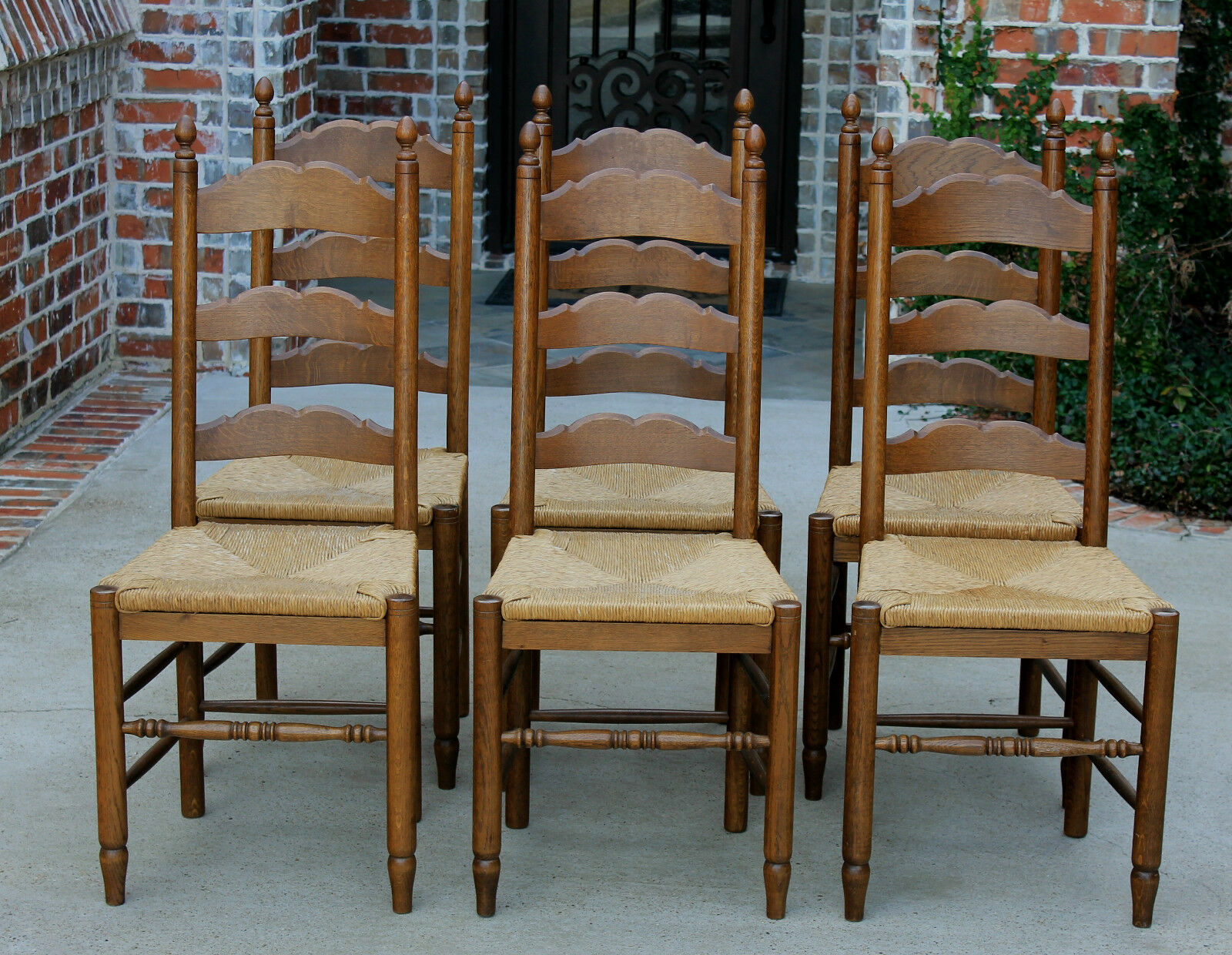 oak farmhouse chairs mini jazzy power chair batteries antique french country set 6 farm table