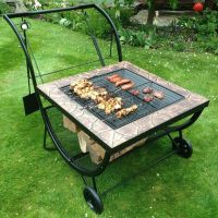 Large Garden BBQ Grill Rack Fire Pit Patio Heater Log