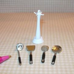 Miniature Kitchen Utensils Scoop Metal Utensil Stand W 4 Loose