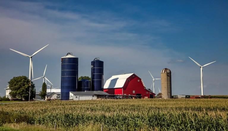 Wind Turbines Near a Farm
