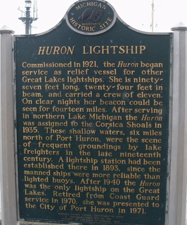 Historical Marker for Huron Lightship
