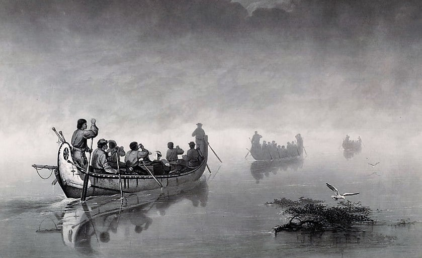 Canoes In Mist - Henry Schoolcraft Voyage