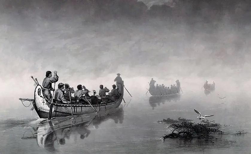 Canoes In Mist - Henry Schoolcraft Voyage