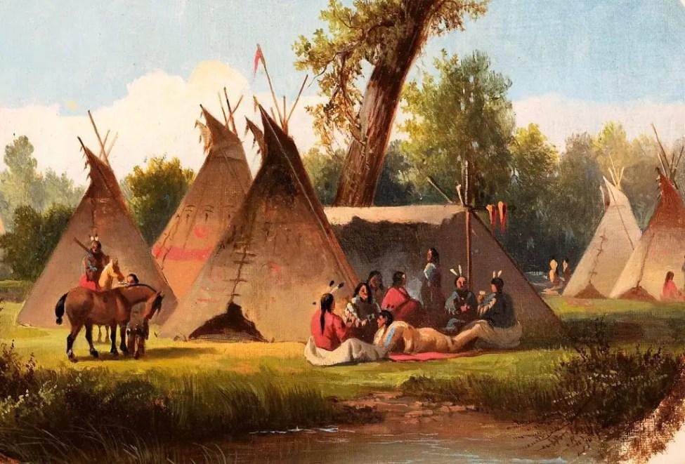 Assiniboin Encampment on the Upper Missouri between 1860 and 1870