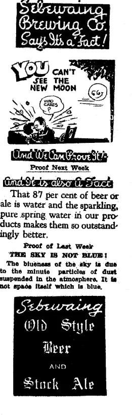 Sebewaing Brewing Company Ad 1939 -