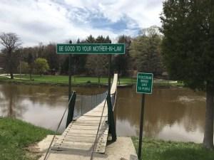 The Croswell Swinging Bridge Welcome Sign