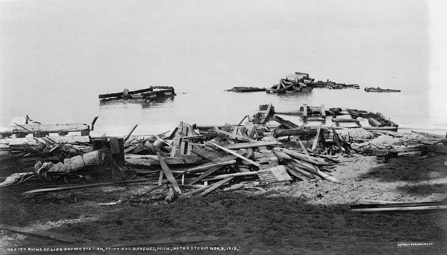 Ruins of Life Station at Pointe Aux Barques after 1913 storm.