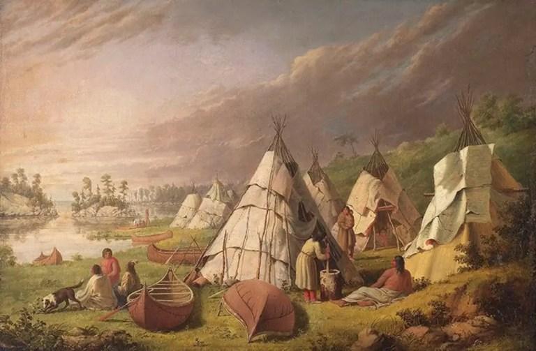 Indian encampment on Lake Huron