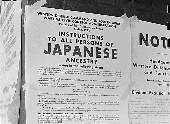 Exclusion Order posted to direct Japanese Americans living in the first San Francisco section to evacuate.