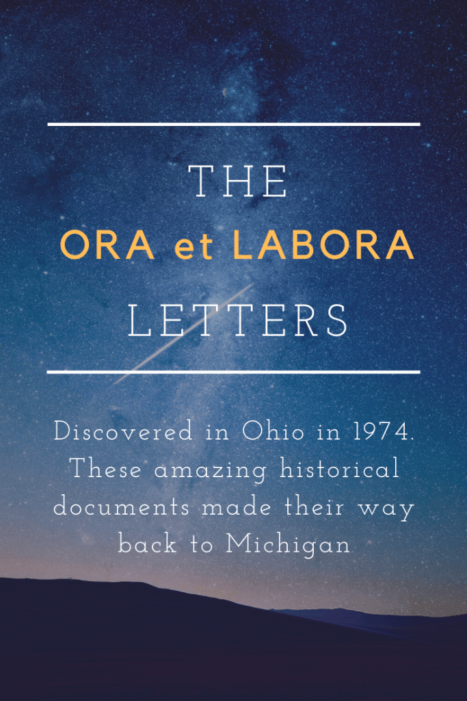 "Archives of Michigan is now in possession of a collection of ""Ora et Labora"" colony letters written in English and Old German by Emil and Bertha Baur and other family members. They were found in Cincinnati in 1974 and sent to the Historical Society of  #Michigan in 2018. They are in process of being prepared for availability online.- Ora et Labora, Ora Labora."