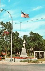 1971 Postcard of Civil War Memorial in Caseville