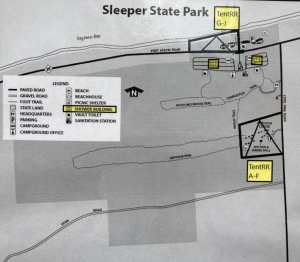 Glamping Site Map of Sleeper State Park
