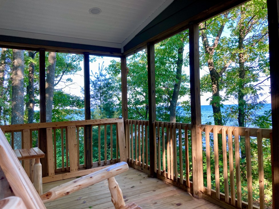 Lake view from Camper Cabin at Port Crescent State Park