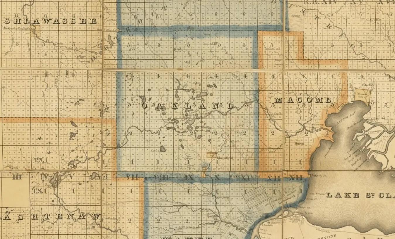 Southeast Michigan Map 1830s
