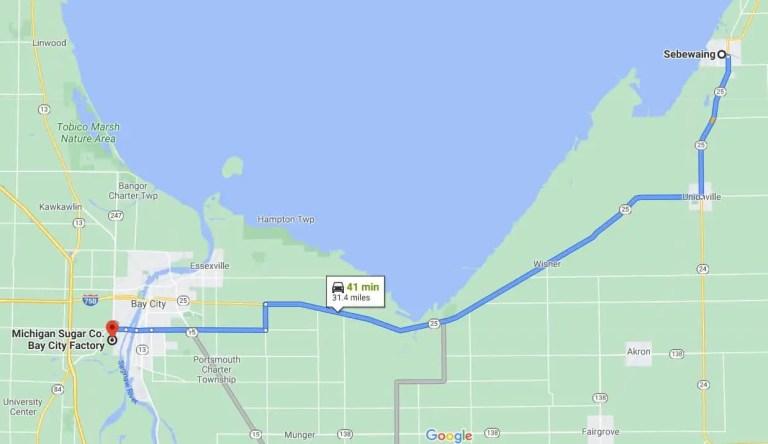 Map to Michigan Sugar Factory Bay City