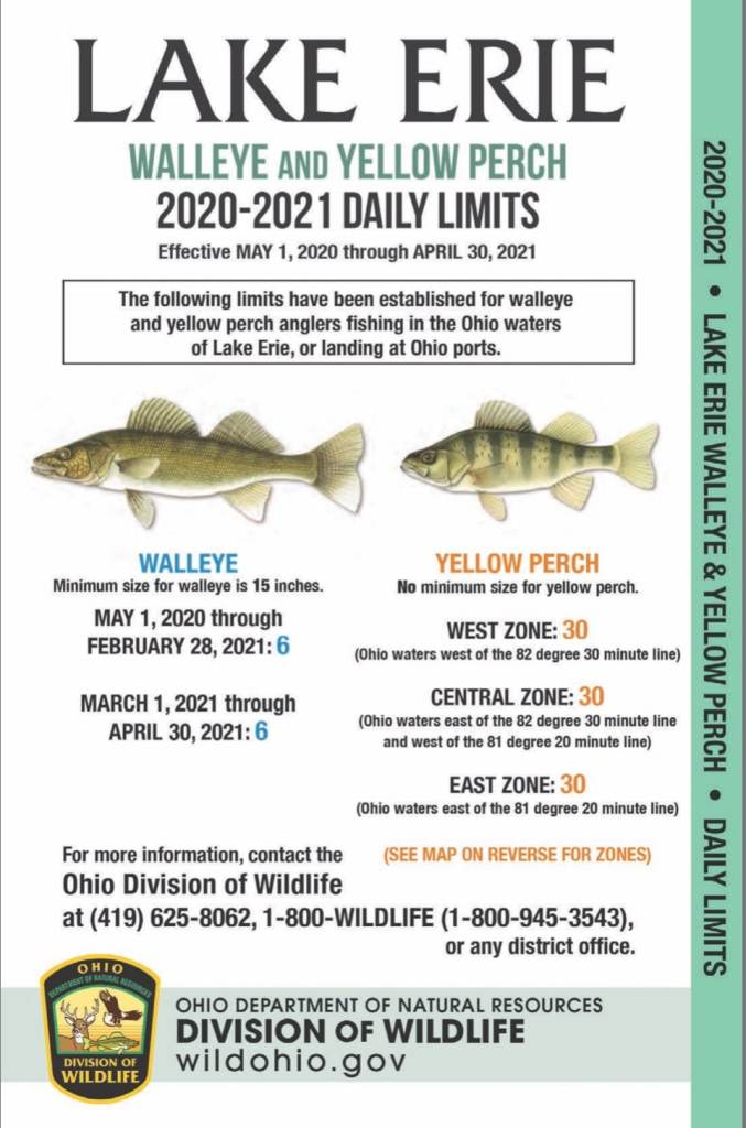 2020 Ohio Limit and Sizes for Lake Erie Perch and Walleye