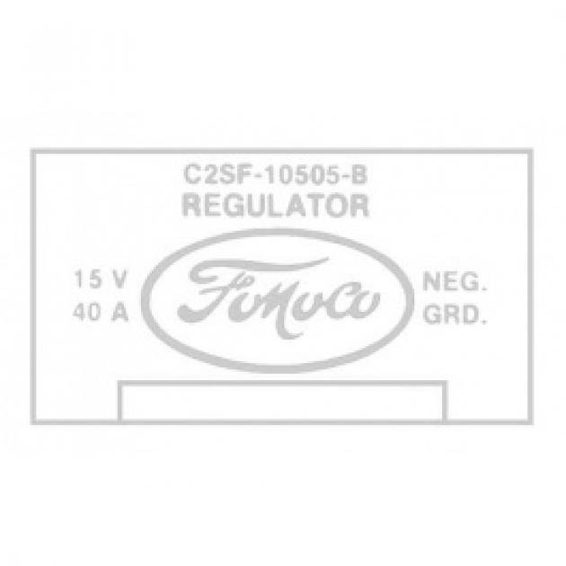 Ford Thunderbird Voltage Regulator Decal, 40 Amp, With Air