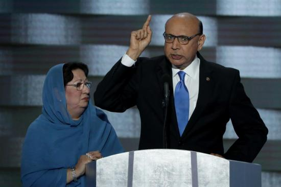 PHILADELPHIA, PA - JULY 28: Khizr Khan, father of deceased Muslim U.S. Soldier Humayun S. M. Khan, delivers remarks on the fourth day of the Democratic National Convention at the Wells Fargo Center, July 28, 2016 in Philadelphia, Pennsylvania. Democratic presidential candidate Hillary Clinton received the number of votes needed to secure the party's nomination. An estimated 50,000 people are expected in Philadelphia, including hundreds of protesters and members of the media. The four-day Democratic National Convention kicked off July 25. (Photo by Alex Wong/Getty Images)