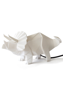 House of Disaster Origami White Triceratops Lamp