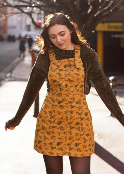 Run and Fly Mustard Corduroy Dinosaur Pinafore