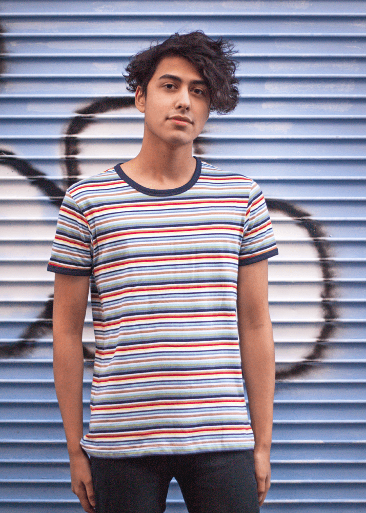 0fb19e7477 Run & Fly - Unisex Multi-Colour Stripe Tee | Thunder Egg