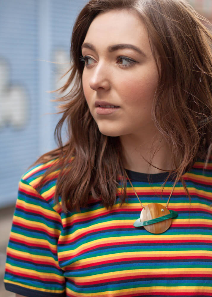 Run & Fly - Unisex Rainbow Brights T-shirt & Tatty Devine - Planet Necklace
