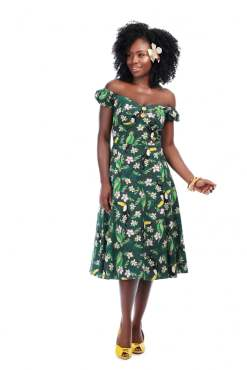Collectif - Dolores Tropical Bird Doll Dress
