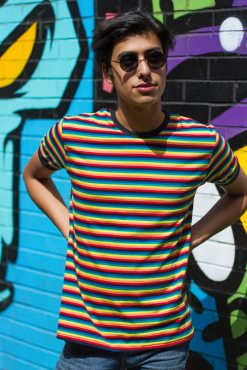 Run & Fly - Unisex Rainbow Brights Stripe Tee