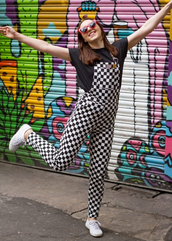 Daisy Street - Black and White Checked Dungarees