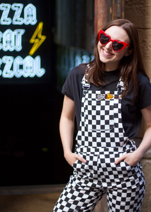 Daisy Street - Black and White Checked Dungarees, The Happy News - Pizza Enamel Pin & Daisy Street - Black and White Checked Dungarees, The Happy News - Pizza Enamel Pin & The Happy News - 'Keep Smiling' Enamel Pin