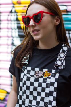 Daisy Street - Black and White Checked Dungarees, The Happy News - Pizza Enamel Pin & The Happy News - 'Keep Smiling' Enamel Pin