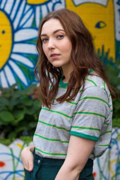Run & Fly - Grey & Green Stripe Tee